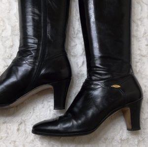 Salvatore Ferragamo Black Leather Knee High Boots
